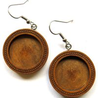 28mm Hanging Wooden Earrings