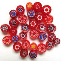 Fused Millefiori: Red 7-13mm