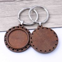 Wood and Silver Keyring: Hearts