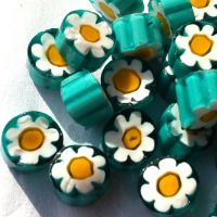 U62 Teal Yellow Flower